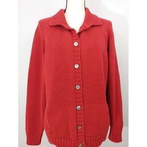 Lands End Bright Red Cotton Cardigan Size XL